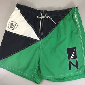 Nautica Men 2XL Green Blue White Swim Trunks Lined